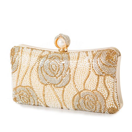 Gold Rose Crystal Clutch Bridal Bag Wedding Party Prom