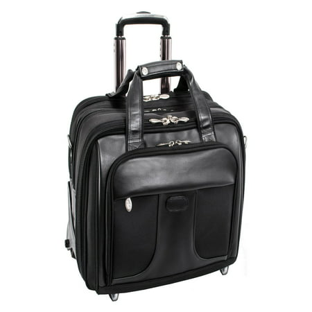McKlein CHICAGO, Patented Detachable Wheeled Laptop Overnight w/Removable Briefcase, Tech-Lite Ballistic Nylon, Black (73585)