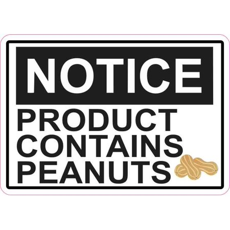 5x3.5 Picture Notice Product Contains Peanuts Magnet Magnetic Food Allergy Sign - Halloween Sign Peanut Allergy