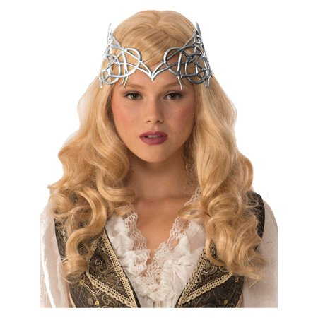 Adult's Womens Royal Medieval Times Silver Crown With Gold Ribbon Tie Costume Accessory