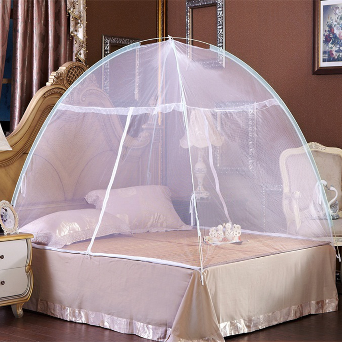 Meigar Foldable Baby Adult Double Zipper Door Sleeping Yurt Mosquito Net Bed Canopy with Stand