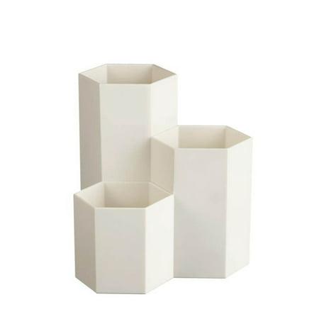 Multipurpose Plastic Pen Container Creative Hexagon Vase Desk Decoration White