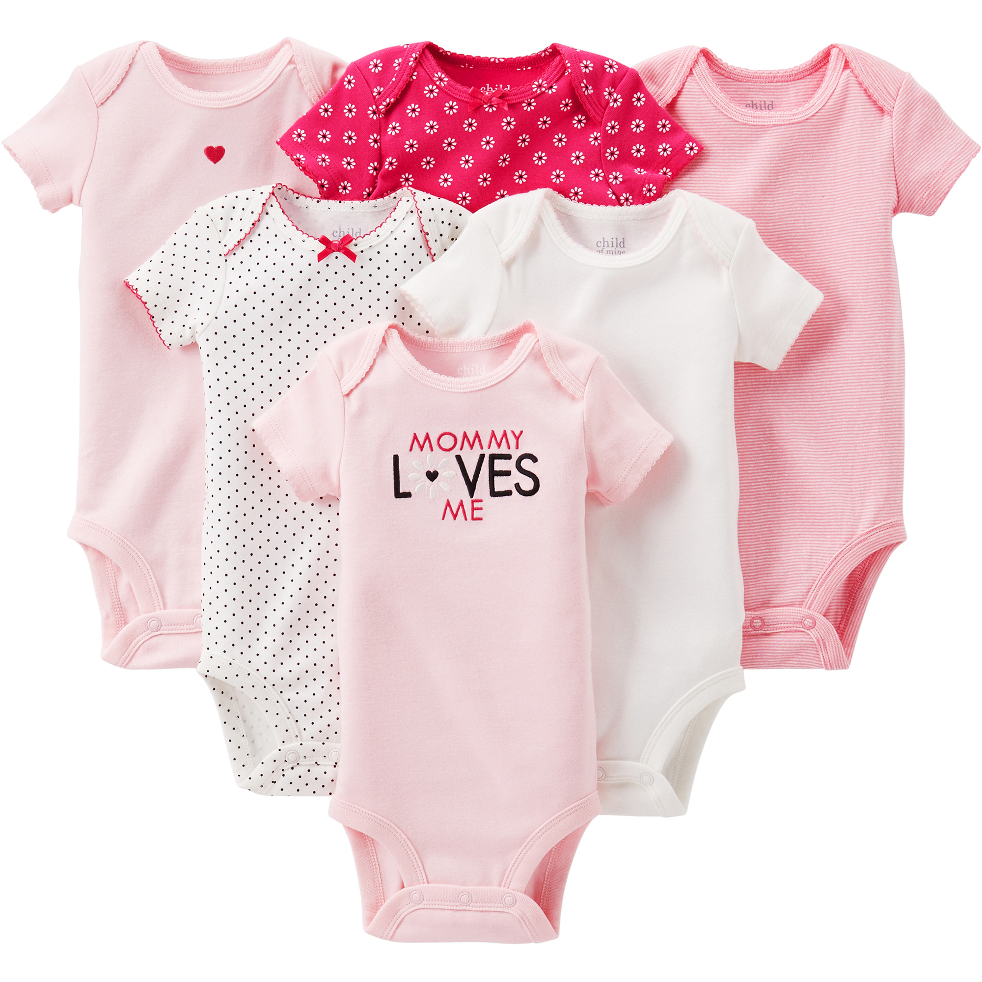 Child of Mine by Carter's Newborn Baby Girl Assorted Bodysuits, 6-Pack