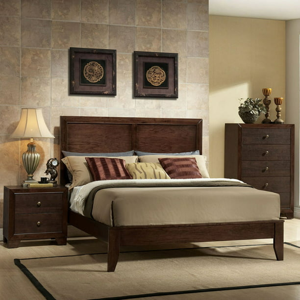 ACME Madison Queen Panel Bed in Espresso Rubberwood, Multiple Sizes