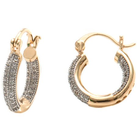 Swarovski Elements 18kt Gold-Plated and Silver Hoop Earrings