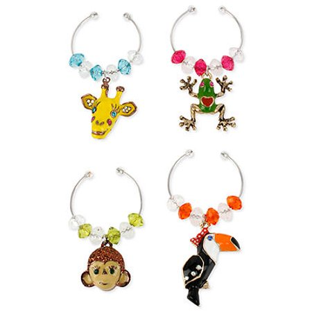 Betsey Johnson Jungle Critter Wine Glass Charm Set