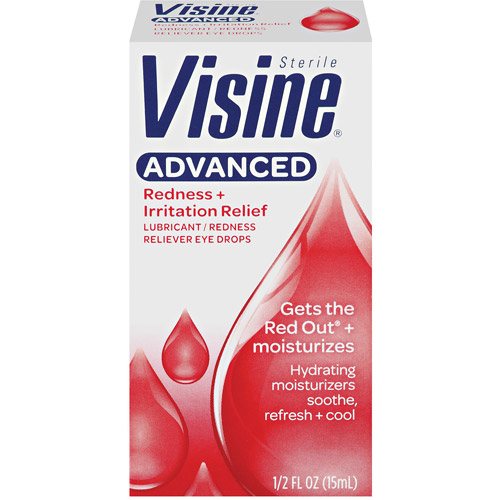 Visine Redness Reliever Eye Drops Advanced Relief Lubricant, 0.5 fl oz