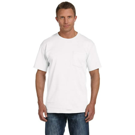 Branded Fruit of the Loom Adult 5 oz HD Cotton Pocket T-Shirt - WHITE - S (Instant Saving 5% & more) ()
