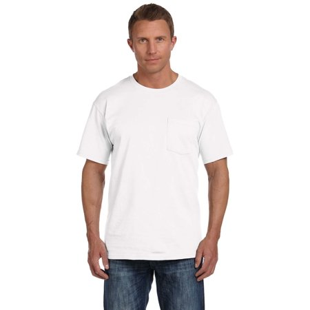 Branded Fruit of the Loom Adult 5 oz HD Cotton Pocket T-Shirt - WHITE - S (Instant Saving 5% &