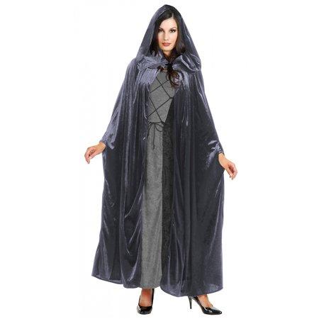 Panne Velvet Hooded Cloak Adult Costume Accessory Grey - One Size - Brown Cloak