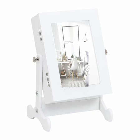 Small Mirror Jewelry Cabinet Organizer Armoire Storage Box Countertop with Stand White ()