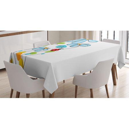 Ladybugs Decorations Tablecloth, Flowers and Oval Dome-Shaped Ladybugs Never Ending Love Story Illustration, Rectangular Table Cover for Dining Room Kitchen, 60 X 84 Inches, Multi, by Ambesonne ()