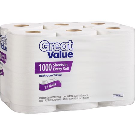 Great Value Bathroom Tissue, 1000 sheets, 12 rolls - Walmart.com