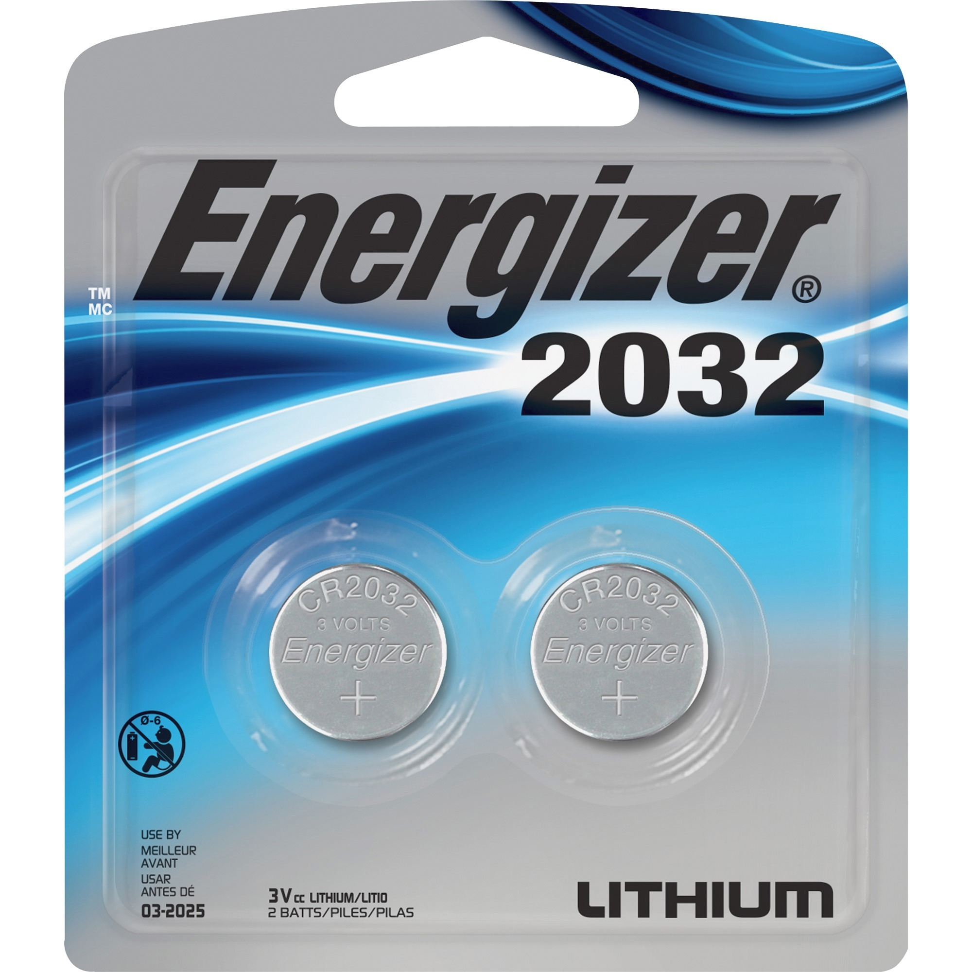 Energizer 2032, 3V, Lithium Button Cell Battery Retail Pack - 2-Pack