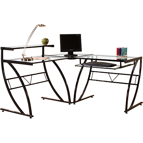 Florence L-Shaped Glass Desk, Black and Clear
