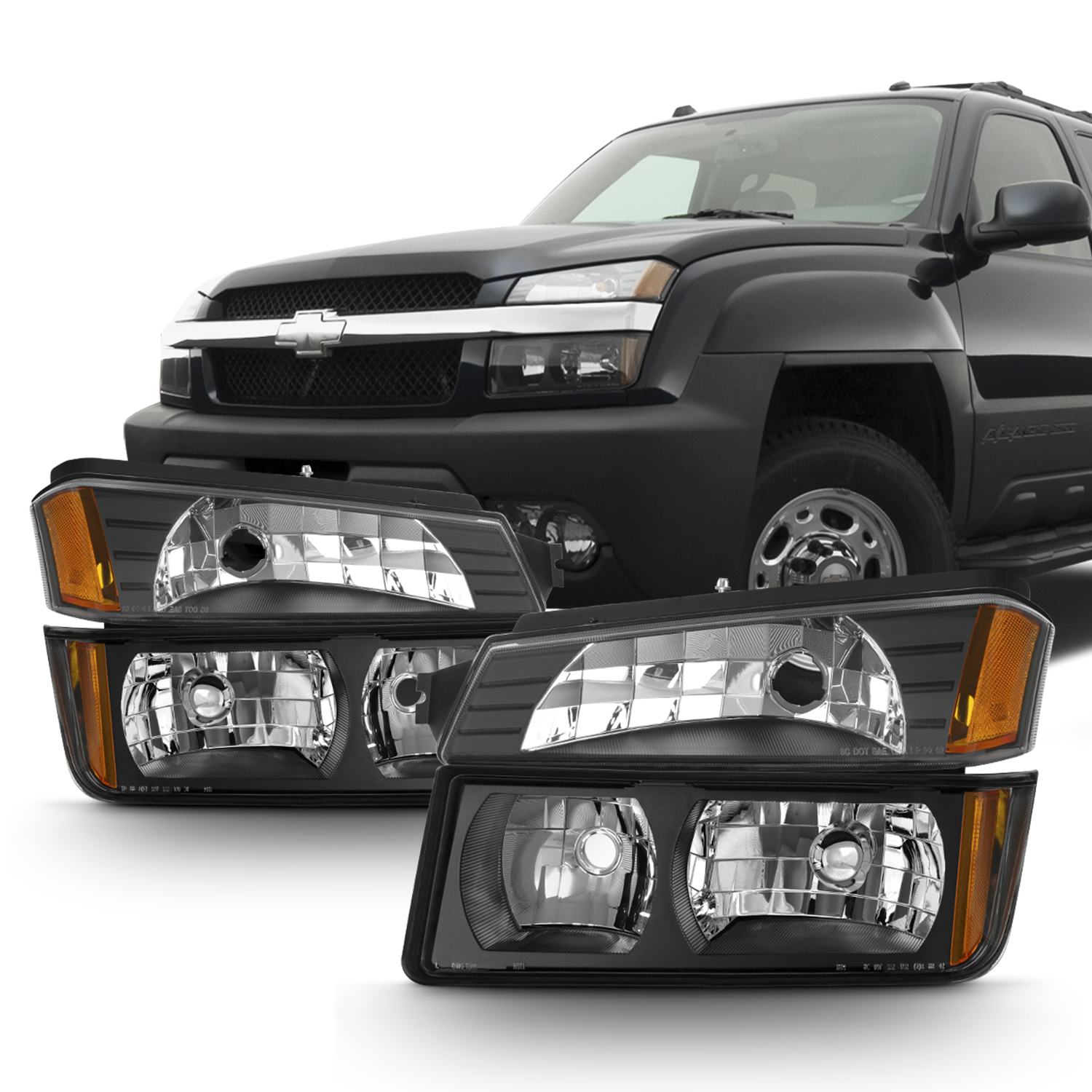 Fit 2002-2006 Chevy Avalanche Body Cladding Model Black Headlights + Bumper Set