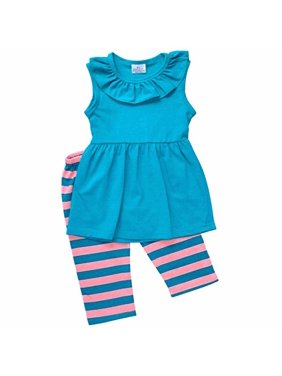 Unique Baby Girls Striped Summer Tank & Capri Boutique Outfit (3T/S, Teal)