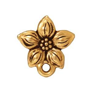 22K Gold Plated Pewter Stud Post Earrings Star Jasmine 13mm (1 Pair)