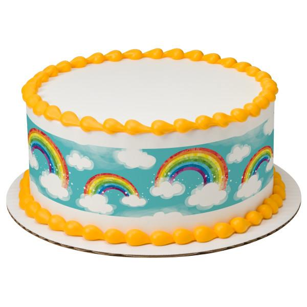 Rainbow With Clouds Edible Cake Topper Image Strips Walmartcom
