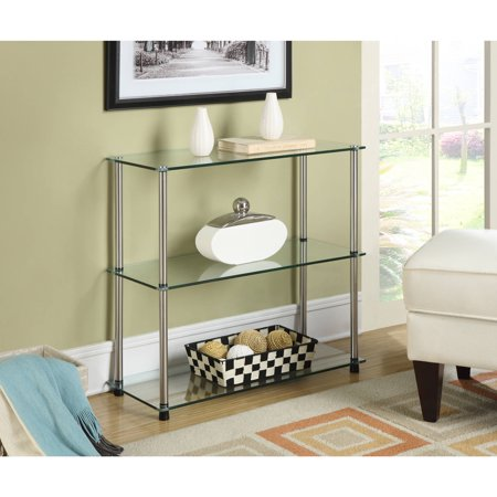 Convenience Concepts Designs2Go No Tools 3-Shelf Bookcase, Glass