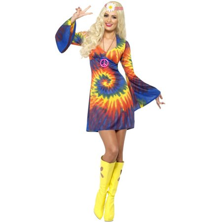 1960s 1970s Dress - Womens 1960s Groovy Psychedellic Tye Dye Hippie Peace Dress Costume