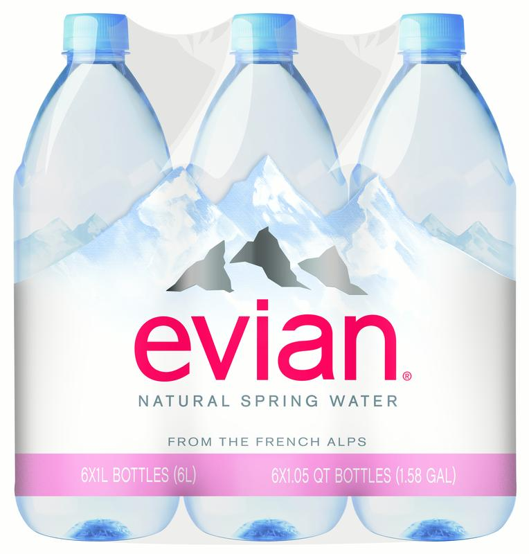 Evian Natural Spring Water, 33.8 Fl Oz, 6-Pack by Danone Waters of America