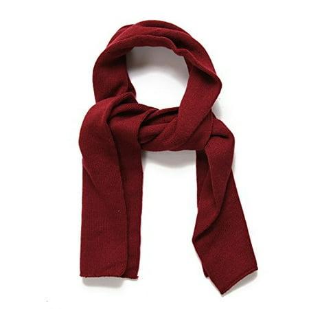 SANREMO Unisex Kids Plain Knitted Warm Winter Outdoor Scarf Shawl (Maroon)