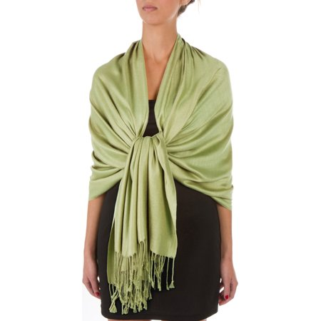 "Sakkas 78"" X 28"" Rayon from Bamboo Soft Solid Pashmina Feel Shawl / Wrap / Stole - Springgreen - One Size"