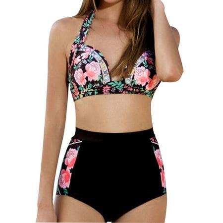 a4799db1ecd Phoebe cat Floral Print Two Pieces Swimsuit for Women, Womens High Waist  Bikini Sets Swimwear for Summer Beach , P2879BXL Push Up Bikini Bathing  Beachwear ...