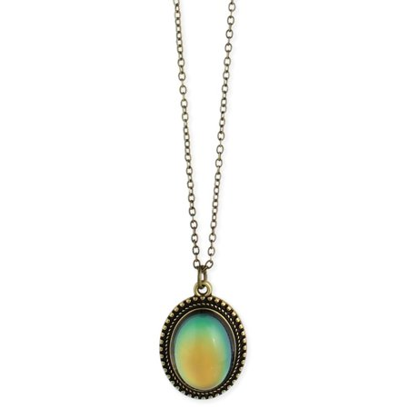 - Zad Jewelry Burnished Gold Oval Mood Pendant Necklace