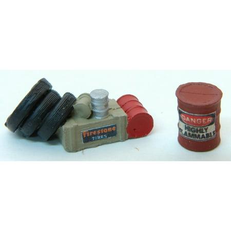 HO Custom Gas Station Junk #2 (Hazardous Barrel, Tires, Oil Barrel & Crate) ()