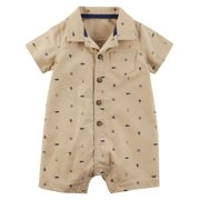 Carters Infant Boys Tan Collared Polo Romper Whale & Sailboat Baby Bodysuit