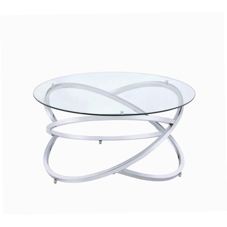 acme marlon round glass coffee table in chrome finish. Black Bedroom Furniture Sets. Home Design Ideas