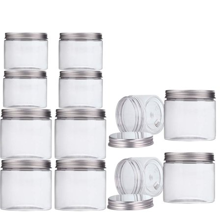 Makone 12 Packs Clear Plastic Jars with Silver Metal Lids (6pc 12oz + 6pc 5oz) BPA Free PET Food Safe Stackable Transparent Storage Container for Slime Kitchen Dry Goods ?5 + 12?oz *6 (Wide Ingredient Bin Lid)