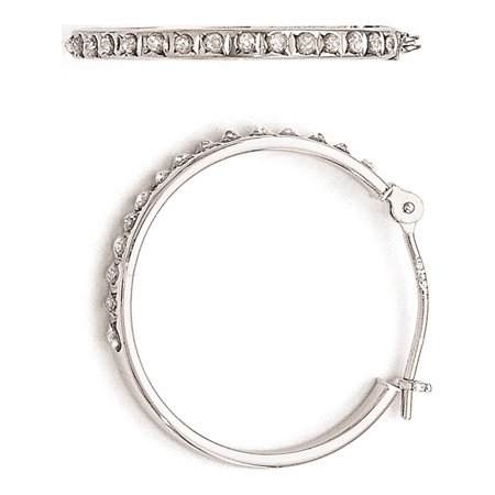 14k White Gold White Diamond Fascination Round Hinged Hoop (2x20mm) Earrings ()