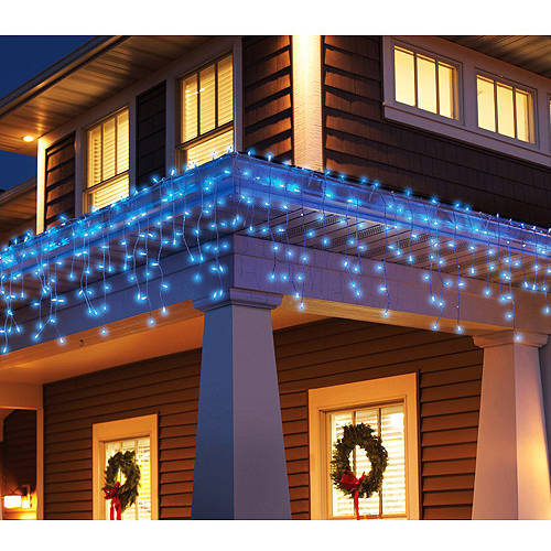 Holiday Time 300-Count Blinking Icicle Christmas Lights, Clear/Blue