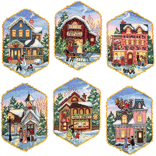 "Christmas Village 3.5"" x 5.5"" Ornaments Counted Cross-Stitch Kit, Set Of Six"