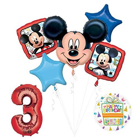 NEW Mickey Mouse 3rd Birthday Party Supplies Balloon Bouquet Decorations - Mickey Mouse Decoration Birthday Party