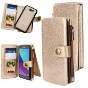 Galaxy J3 Emerge Case, Galaxy J3 2017/ Amp Prime 2, 12 Card Slot Series - Zipper Cash Storage, Premium Flip Button Snap PU Leather Wallet Case Cover With Detachable Magnetic Hard Case - Glitter Gold