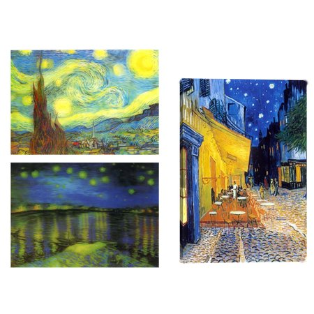 (Van Gogh: 3 Lenticular 3D Postcard Greeting Cards - Starry Night, Terrace Cafe & Starry Night over the Rhone.)