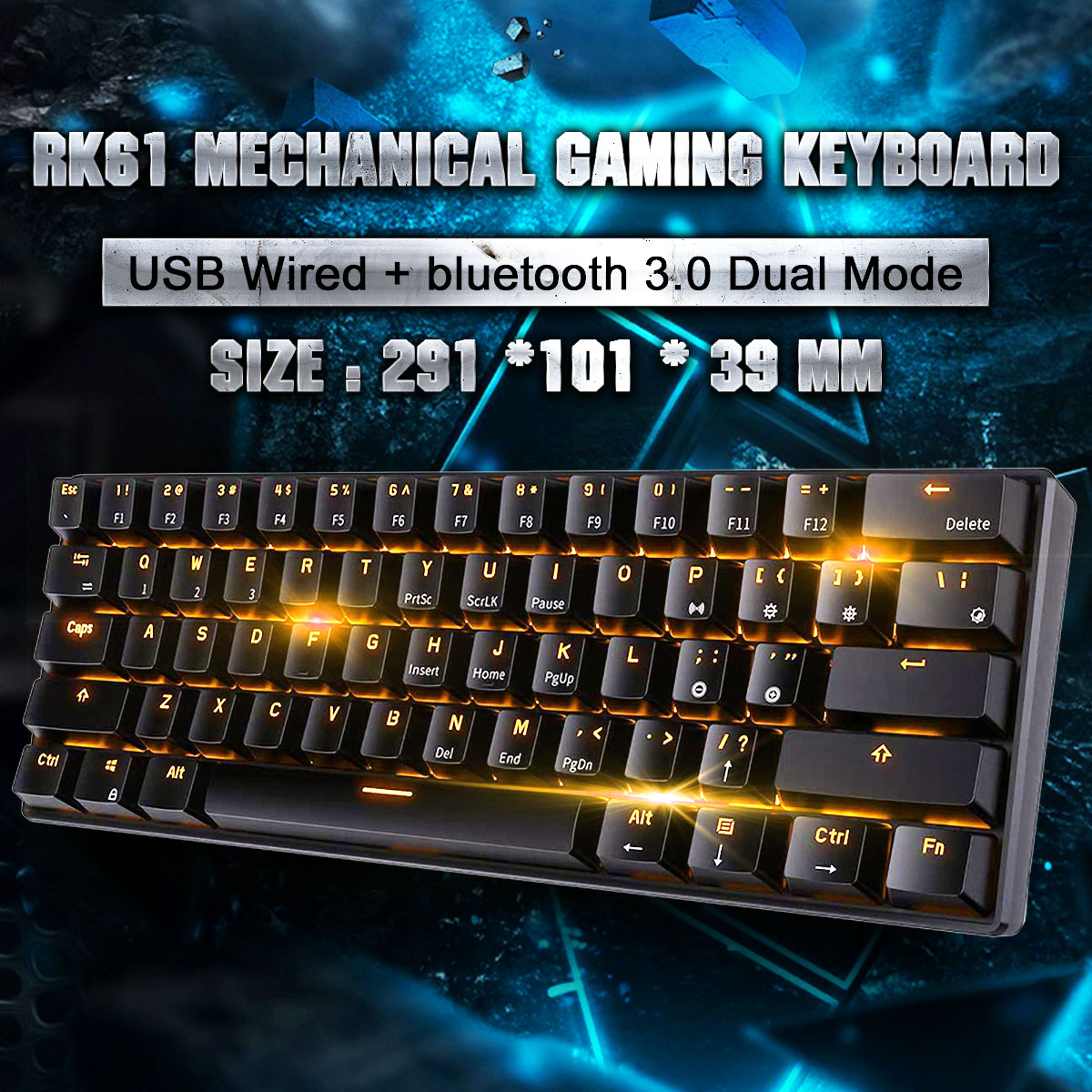 Royal Kludge Rk61 Mechanical Gaming Keyboard Bluetooth Wired Dual Mode 61 Key Rgb Backlit Office Keyboard For Pc For Mac For Linuxfor Ipad For Iphone For Smartphone Laptop Walmart Com Walmart Com
