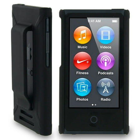 Apple Ipod Nano Leather Cover (BLACK HARD SHELL CASE COVER WITH BELT CLIP HOLSTER FOR APPLE iPOD NANO 7 7th 8th GEN GENERATION)