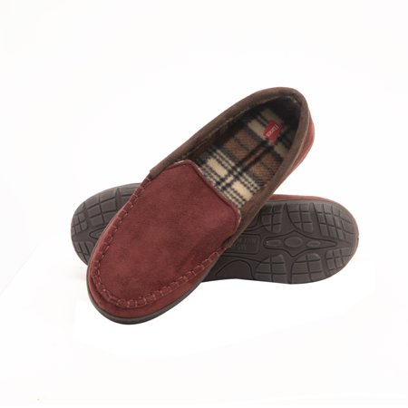 Hanes Men's  Moccasin Slipper House Shoe With  Indoor Outdoor Memory Foam Sole Fresh IQ Odor Protection Brown Crazy Horse Footwear