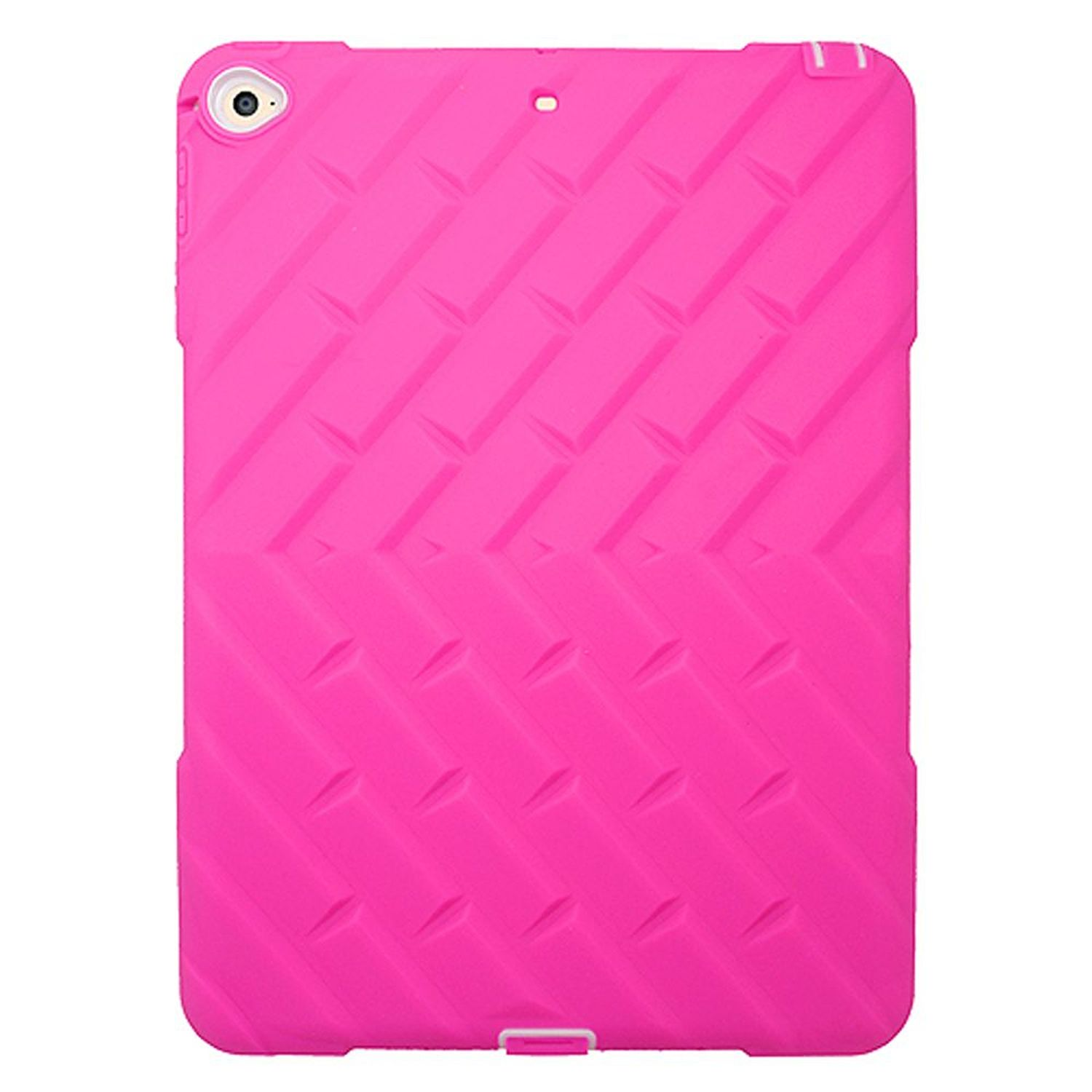 iPad Air 2 Case, by Insten Dual Layer [Shock Absorbing] Hybrid Rubber Silicone/Plastic iPad Cover Case For Apple iPad Air 2 - Hot Pink/White