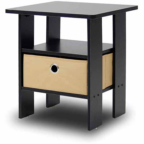 Night Table petite end table bedroom night stand with foldable bin drawer
