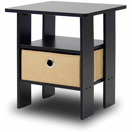 Petite End Table Bedroom Night Stand with Foldable Bin Drawer ...