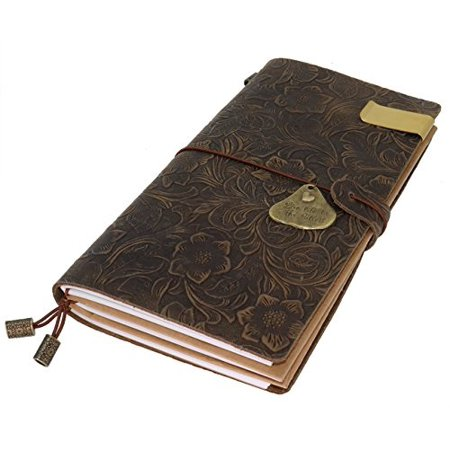 Die Travelers Journal (travelers notebook 100% top grain vintage leather journal flower embossed refillable travelers notebook composition journal with ballpoint pen, gift for men & women, perfect to write in -brown)