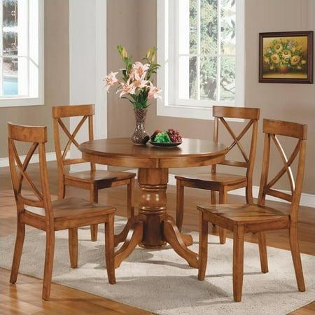 Home Styles Furniture Cottage Oak 5 PC Pedestal Dining Table Set