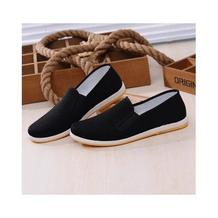 Men Chinese Hollow Out Slip On Canvas Cloth shoes Working Flat Casual (China Flat)