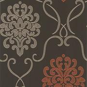 Brewster DL30445 Brown Suzette Brown Modern Damask Wallpaper